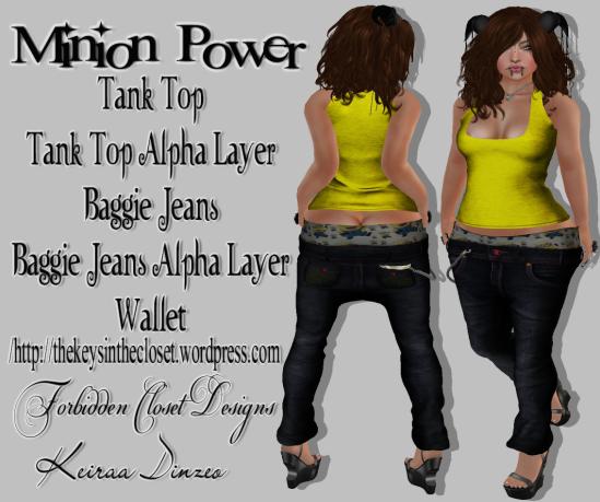 Minion Power Baggie Jeans Tanktop & wallet